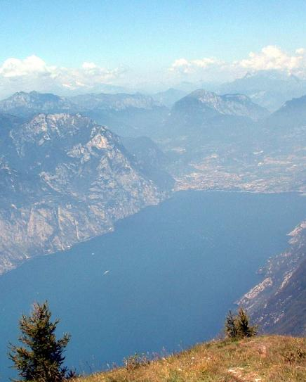 View from the peak of Monte Baldo towards the north end of the lake