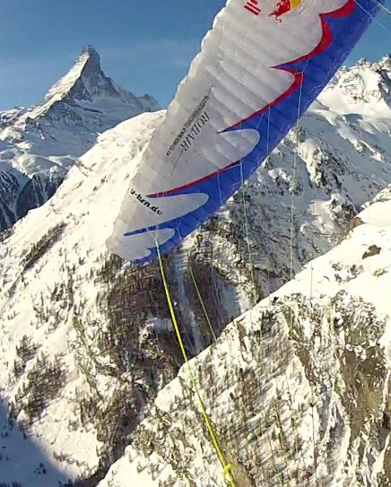 Acro Tandem Flight in Zermatt, Switzerland, in front of the Matterhorn