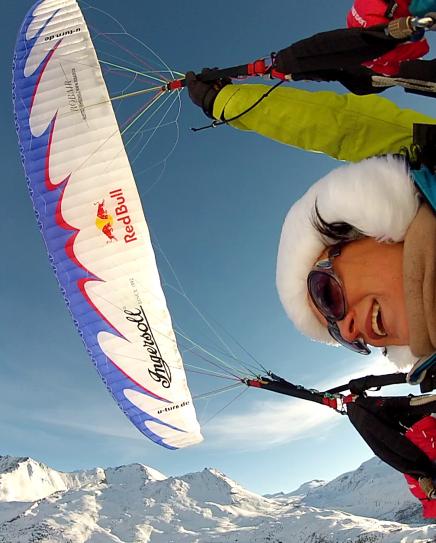 Acro Tandem Flight in Zermatt, Switzerland, in front of the Matterhorn